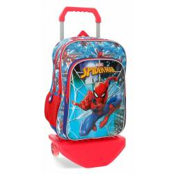 Mochila Escolar Spiderman 40x30x13 cm en Poliester Street Con carro Doble compartimento