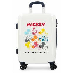 Maleta de cabina rígida Mickey Magic caras beige 55x40x20cm ABS