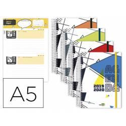 AGENDA ESCOLAR LIDERPAPEL 19-20 CLASSIC DIN-A5 BILINGUE DOS DIA PAGINA ESPIRAL CIERRE CON GOMA