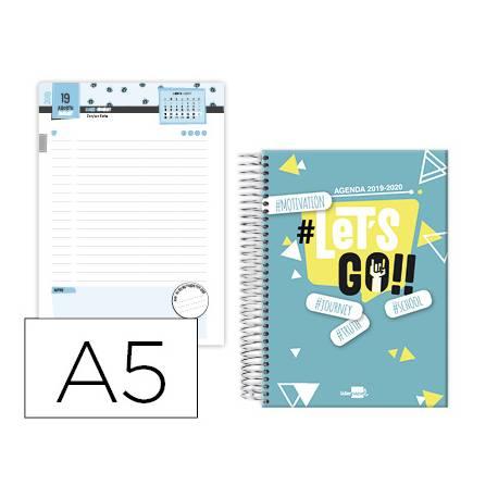 Agenda Escolar 19-20 Dia pagina DIN A5 con Espiral Bilingüe Liderpapel College Basic Azul