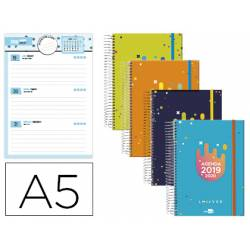 Agenda Escolar 19-20 Semana vista DIN A5 Espiral Bilingüe Liderpapel College Date No se puede elegir color