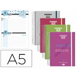 Agenda Escolar 19-20 Dos dia pagina DIN A5 con Espiral Bilingüe Liderpapel College Polipropileno No se puede elegir color