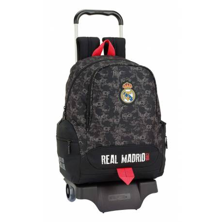 Mochila Escolar Real Madrid 43x32x17 cm Poliester Black Con Ruedas