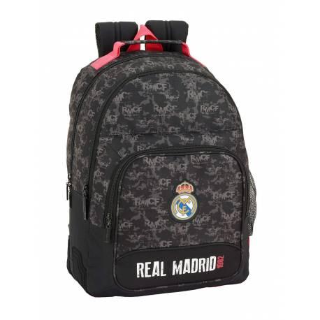 Mochila Escolar Real Madrid 42x32x15 Poliester Doble Asa Superior Black