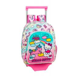 Mochila Escolar Hello Kitty 34x26x11 cm Poliester Candy Unicorns Con carro