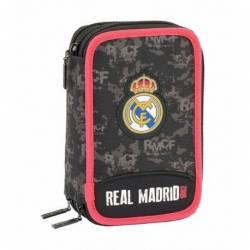 PLUMIER ESCOLAR SAFTA REAL MADRID BLACK TRIPLE CREMALLERA 41 PIEZAS 125X205X60 MM