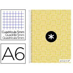 Cuaderno espiral Antartik Din A6 Tapa forrada 100g/m2 color Amarillo