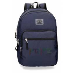 Mochila Escolar Pepe Jeans 46x31x15 Cm en poliester Osset color azul doble compartimento