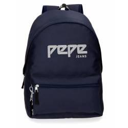 Mochila Escolar Pepe Jeans 42x31x17,5 Cm en poliester Uma azul marino adaptable a carro