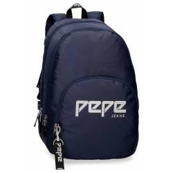 Mochila Escolar Pepe Jeans 44x31x15 Cm en poliester Uma azul doble compartimento