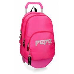 Mochila Escolar Pepe Jeans 44x31x15 Cm en poliester Uma rosa doble compartimento