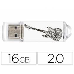 MEMORIA USB TECHONETECH FLASH DRIVE 16 GB 2.0 CRAZY BLACK GUITAR