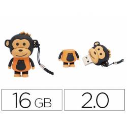 MEMORIA USB TECHONETECH FLASH DRIVE 16 GB 2.0 MAKAKO MONO NARANJA