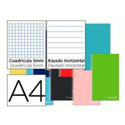 Cuaderno espiral Liderpapel Jolly Tamaño DIN A4 Tapa forrada Cuadricula 5mm + Rayado Horizontal 75 g/m2 en Colores surtidos