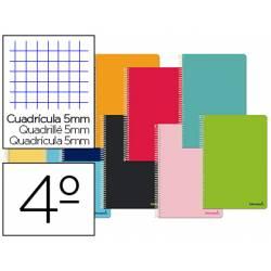 Cuaderno espiral Liderpapel Smart Tamaño cuarto Tapa blanda Cuadricula 5 mm 60 g/m2 Con margen en Colores surtidos