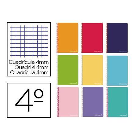 Cuaderno espiral Liderpapel Witty Tamaño cuarto Tapa dura Cuadricula 4 mm 75 g/m2 Con margen en Colores surtidos