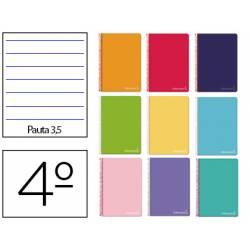Cuaderno espiral Liderpapel Witty Tamaño cuarto Tapa dura Pauta ancha 3,5 mm 75 g/m2 Con margen en Colores surtidos