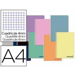Cuaderno espiral Liderpapel DIN A4 Tapa plástico Cuadricula 4 mm 90 g/m2 Con margen en Colores surtidos (no se puede elegir)