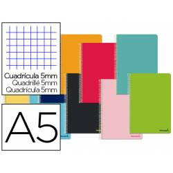Cuaderno espiral Liderpapel Smart Tamaño DIN A5 Tapa blanda Cuadricula 5 mm 60 g/m2 Con margen en Colores surtidos