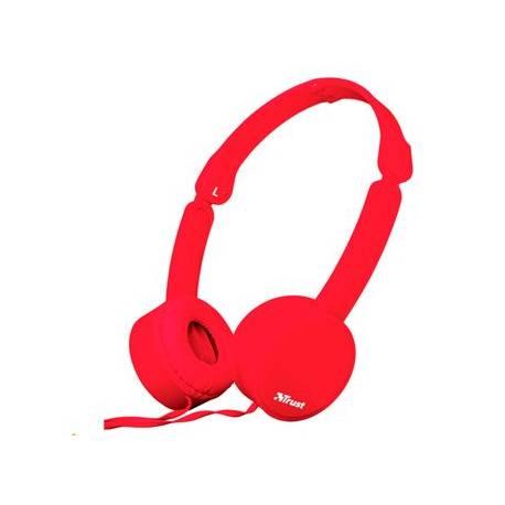 Auricular Trust Nano Plegable Microfono y Boton control color Rojo