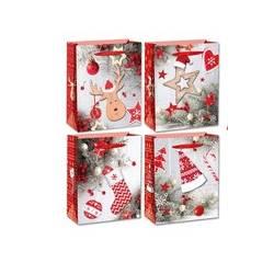 Bolsa para regalo marca Arguval Grande Navidad glitter 3D plata