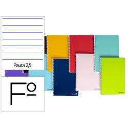 Cuaderno espiral Liderpapel Rayado montessori folio smart Tapa blanda 80h 60gr pauta 2,5mm Con margen Colores surtidos