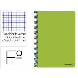 Cuaderno espiral marca Liderpapel folio smart Tapa blanda 80h 60gr cuadro 4mm con margen Color verde