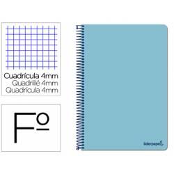 Cuaderno espiral Liderpapel folio smart Tapa blanda 80h 60gr cuadro 4mm con margen Color celeste