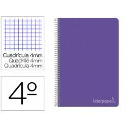 Bloc Liderpapel cuarto witty cuadrícula 5mm tapa dura 75 gr color morado