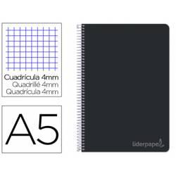 Bloc Liderpapel cuarto witty cuadrícula 5mm tapa dura 75 gr negro