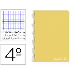 Bloc Liderpapel cuarto witty cuadrícula 4mm tapa dura 75 gr amarillo.