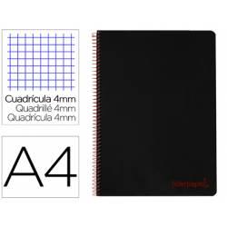 Bloc Liderpapel Din A4 wonder cuadrícula 4mm tapa polipropileno 90 gr color negro