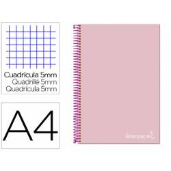 Bloc Liderpapel Din A4 micro jolly cuadrícula 5mm 5 bandas 4 taladros tapa forrada 75 gr color rosa