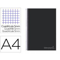 Bloc Liderpapel Din A4 micro jolly cuadrícula 5mm 5 bandas 4 taladros tapa forrada 75 gr color negro