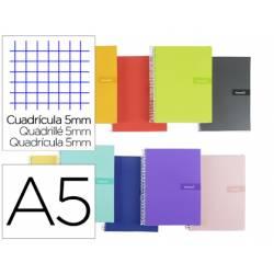 """Bloc Liderpapel DIN A5 crafty cuadro 5 mm con margen tapa forrada 90 gr color """"no se puede elegir"""""""