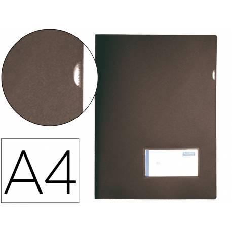 Carpeta dossier broche Liderpapel DIN A4 polipropileno 180 micras 20 hojas color negro