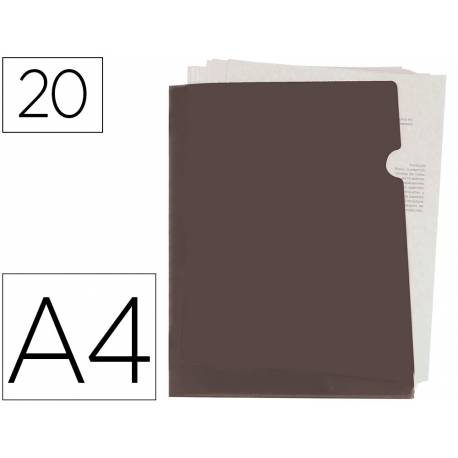 Carpeta dossier uñero Liderpapel DIN A4 polipropileno 180 micras 20 hojas color negra