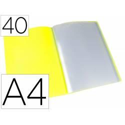 Carpeta escaparate Liderpapel DIN A4 poliporpileno con 40 fundas color amarillo
