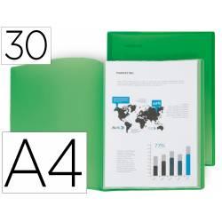 Carpeta escaparate Liderpapel DIN A4 poliporpileno con 30 fundas verde