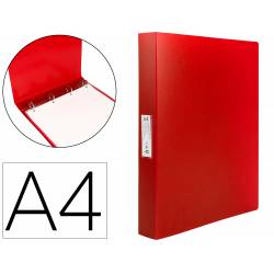 Carpeta Liderpapel 4 anillas polipropileno DIN A4 25mm color rojo