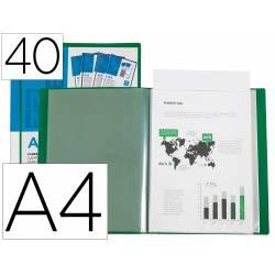 Carpeta Canguro Liderpapel DIN A4 poliporpileno 20 fundas color verde