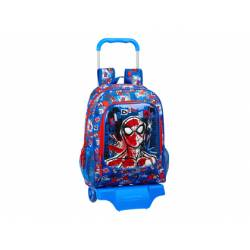 CARTERA ESCOLAR CON CARRO SAFTA SPIDERMAN PERSPECTIVE 320X140X420 MM