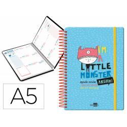 Agenda escolar liderpapel 20-21 fantasia din-a5 semana vista bilingue espiral modelo little monster