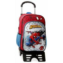 Mochila 38 cm Spiderman Red con Carro (40423T1)
