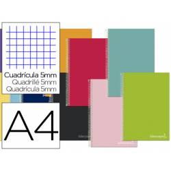 Cuaderno espiral Liderpapel Jolly Tamaño DIN A4 Tapa forrada Cuadricula 5 mm 75 g/m2 5 bandas 4 taladros Colores surtidos