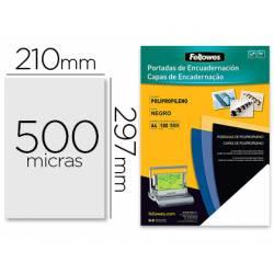 Tapa de Encuadernacion Polipropileno Fellowes DIN A4 Color Negro 500 micras pack 100 uds