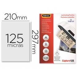 Bolsa de plastificar Fellowes Din A4 125 Micras con brillo Paquete de 25 unidades