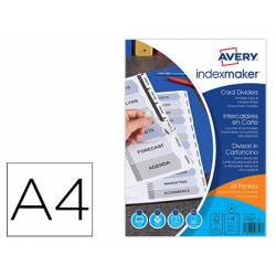 Separadores Avery DIN A4 Imprimibles 12 Pestañas Papel Blanco