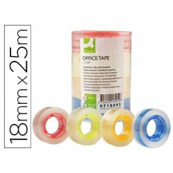 Cinta adhesiva Q-Connect 25 mt x 18 mm con mandril de color Pack 4 colores