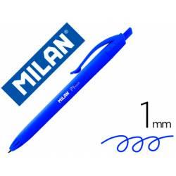Bolígrafo retráctil milán P1 de color azul de 1 mm